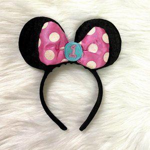 Disney Minnie Mouse Ears 1st Birthday Headband